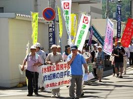▲津山市内の網の目行進の様子