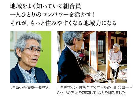 地域をよく知っている組合員、一人ひとりのマンパワーを活かす!小野町をより住みやすくするため、組合員一人ひとりのお宅を訪問して協力を仰ぎました。