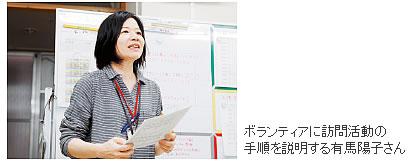 ボランティアに訪問活動の手順を説明する有馬陽子さん