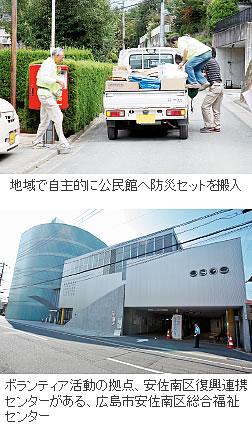 ボランティア活動の拠点、安佐南区復興連携センターがある、広島市安佐南区総合福祉センター